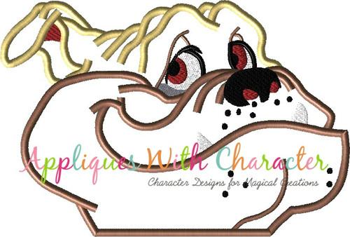 Lady Bull the Bull Dog Peeker Dog Applique Design