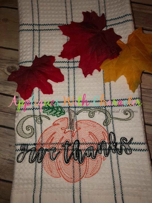 Give Thanks Bean Stitch Embroidery Design