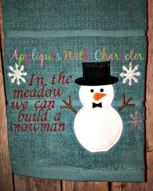 Build a Snowman Applique Embroidery Design