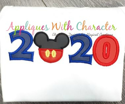 2020 Mr Mouse Head Applique Design