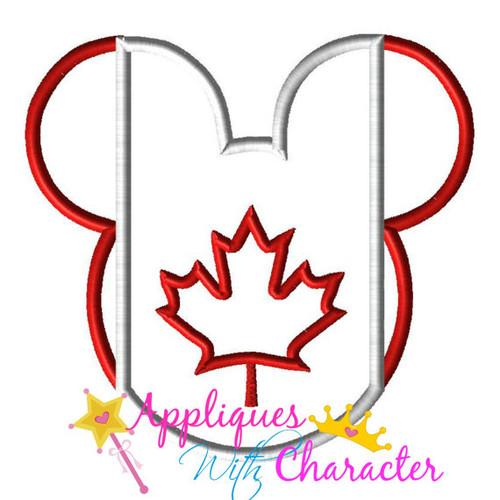 Canadian Canada Flag Mickey Mouse Head Epcot  Applique Design