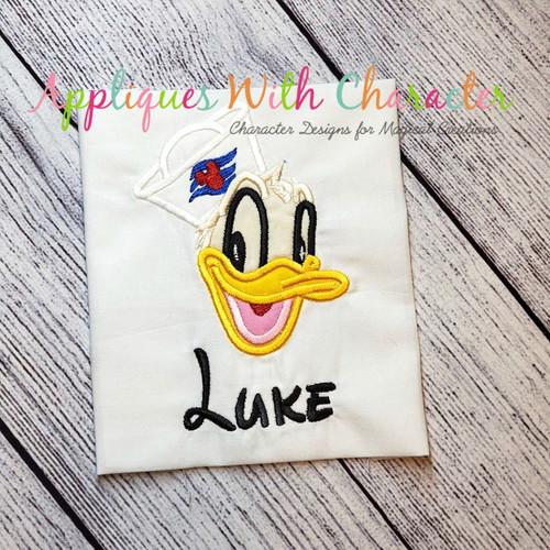Don Duck Cruise Full Face Applique Design