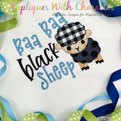 Baa Baa Black Sheep Nursery Rhyme ZZ Stitch Embroidery Design