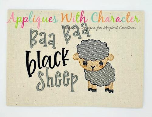 Baa Baa Black Sheep Nursery Rhyme Sketch Embroidery Design