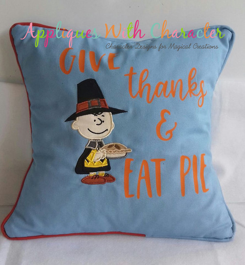 Peanuts Charles with Pie Applique Design