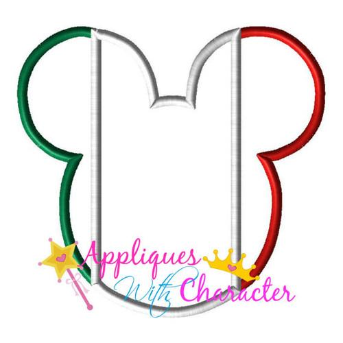 Mexico Mexican Italy Flag Mr Mouse Head Epcot Applique Design