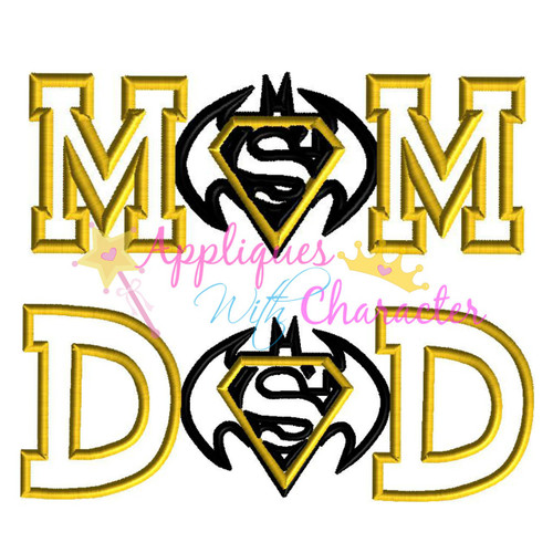 Bat Hero Super Hero Mom and Dad Applique Design Set