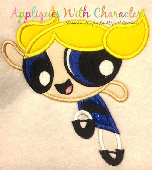 Puffy Power Bubbles Girl Applique Design