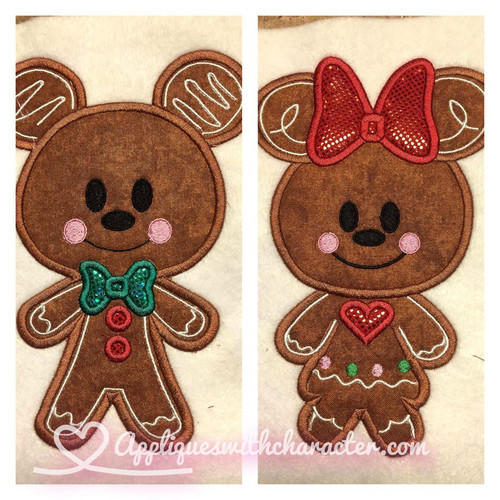 Gingerbread Mr Mouse and Miss Mouse Cookie Applique Design Set