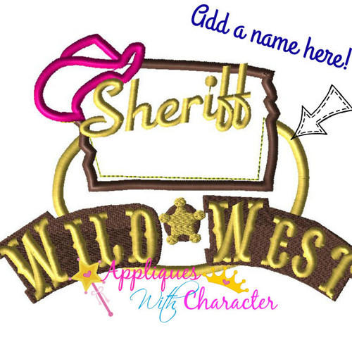 Sheriff Cally Logo Add a Name  Applique Design