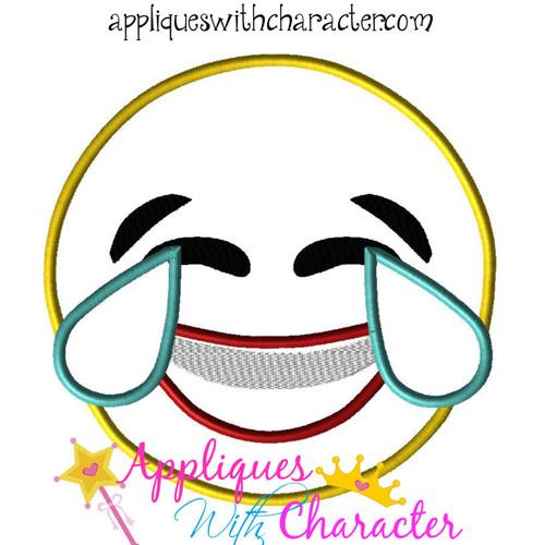 Laughing Emoji Applique Design