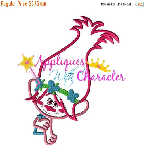 Troll Movie Poppy Girl Applique Embroidery Machine Design 5 sizes Instant Download