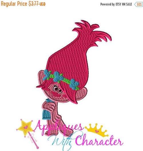 Troll Movie Pink Girl Filled Embroidery Machine Design