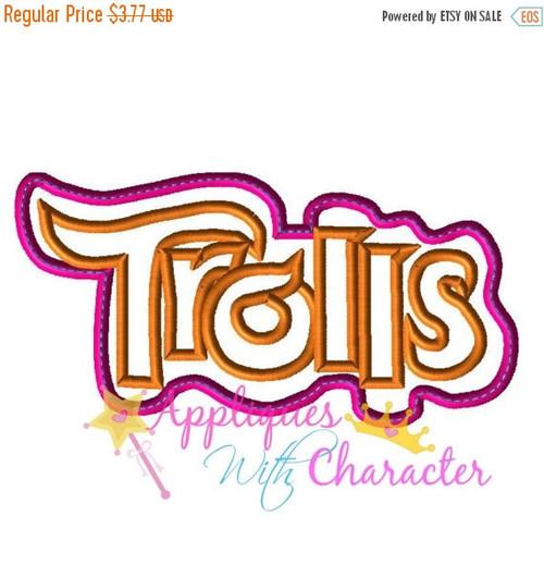 Troll Movie Logo Applique Embroidery Machine Design