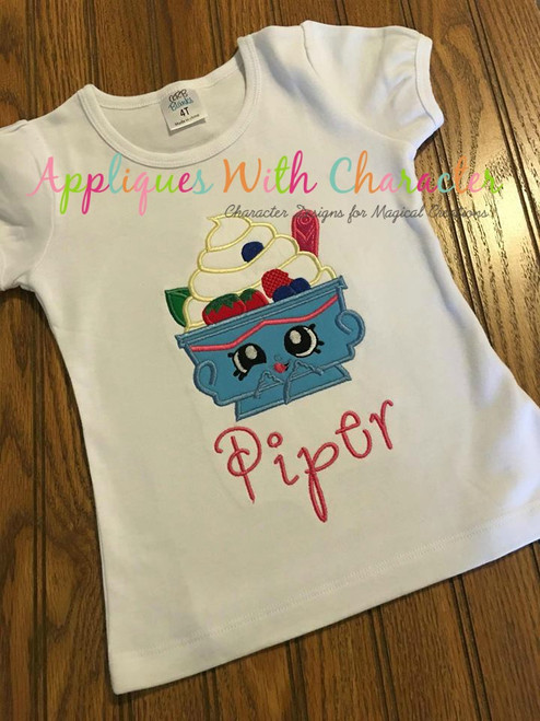 Shopikins Yochi Yogurt Applique  Design