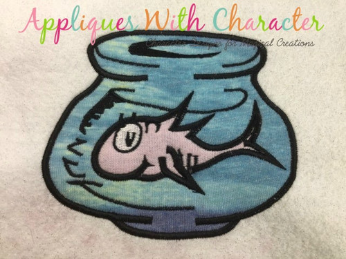 Seuss Fish In Bowl Embroidery Machine Design