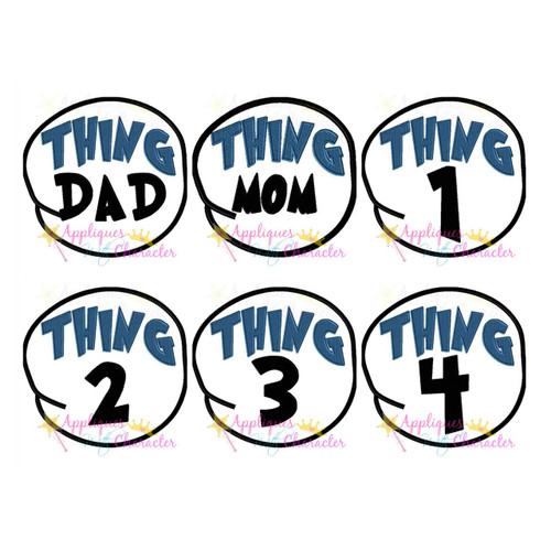 Seuss Cat Hat Thing 1-4 Mom Dad Circle Applique Set