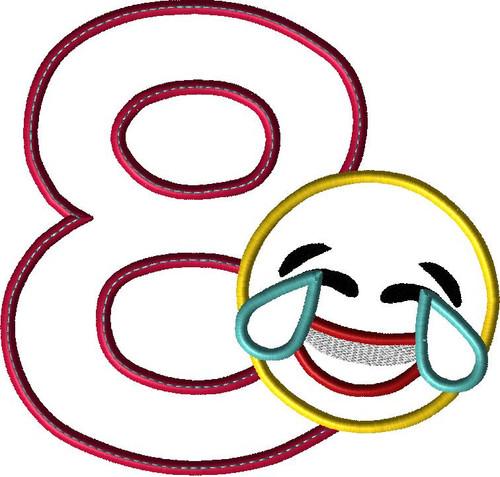 Laughing Emoji EIGHT Applique Design