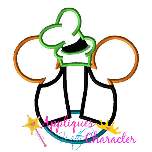 Goofie Mr Mouse Head Applique Design