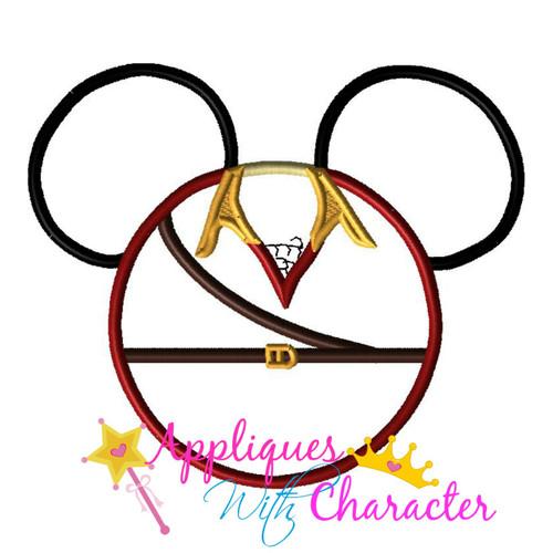 Beauty Gaston Mr Mouse Head Applique Design
