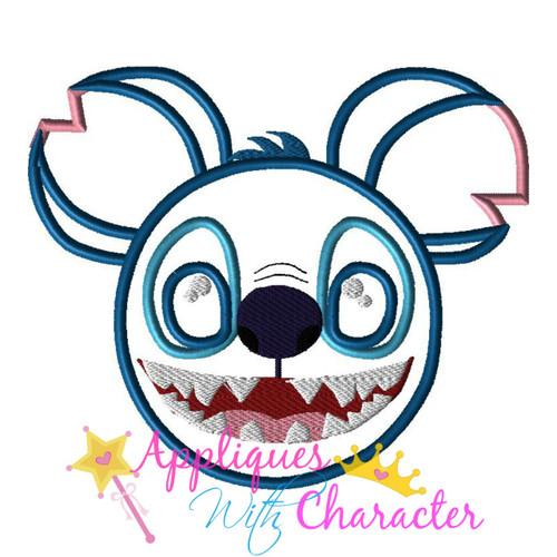 Stitch Mr Mouse Head Applique Design
