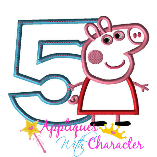 Pepper Pig FIVE Applique Design