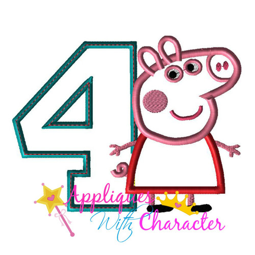 Pepper Pig FOUR Applique Design