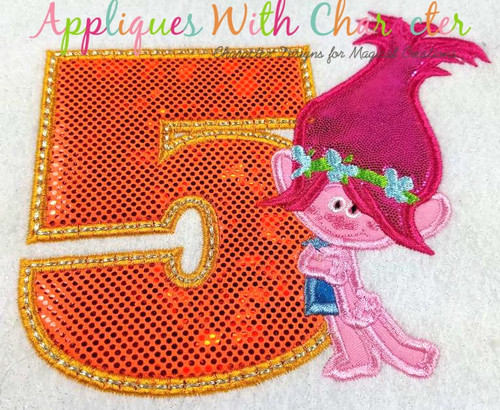 Pop Troll Five Applique Design