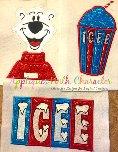Icee Drink, Icee Logo, Icee Polar Bear Applique Design