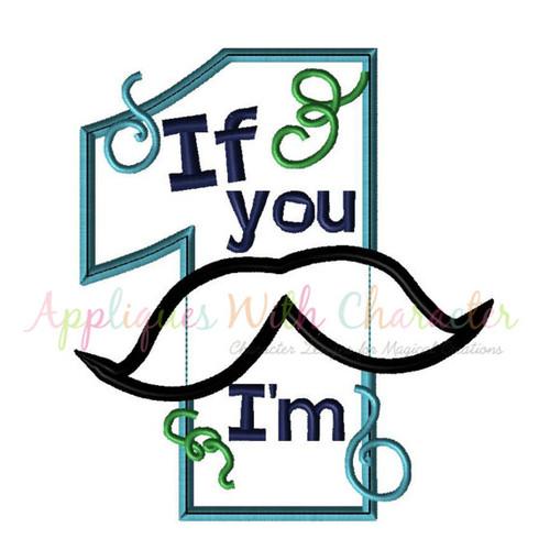 Mustache One Applique Design