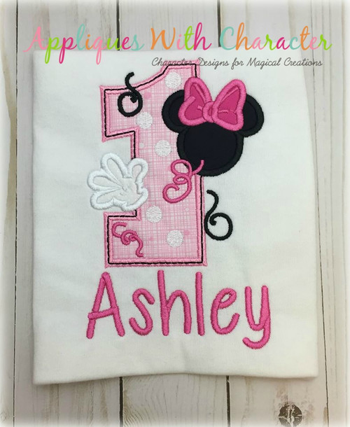Miss Mouse One Applique Design