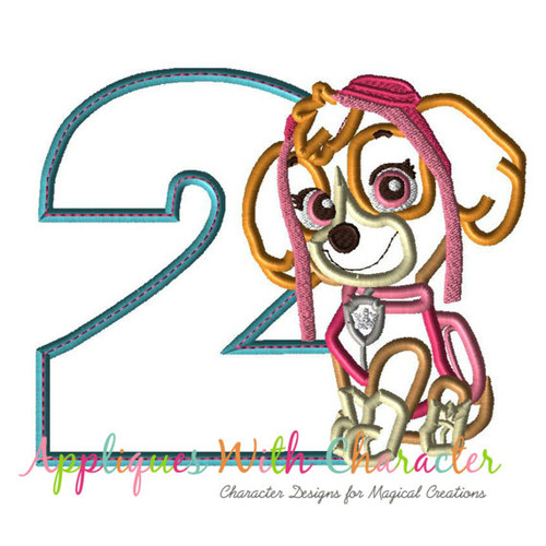 Paw Sky Patrol Pup Two Applique Design