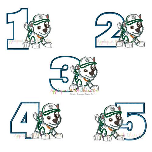 Pup Patrol Rockie One Two Three Four Five Set  Applique Design