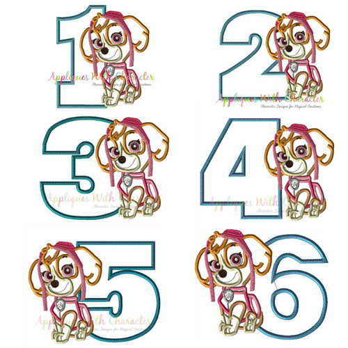 Pup Patrol Skye One Two Three Four Five Set  Applique Design