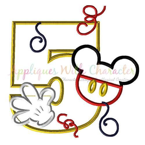 Mr Mouse Five Applique Design