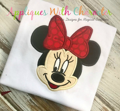 Miss Mouse Face Applique Design