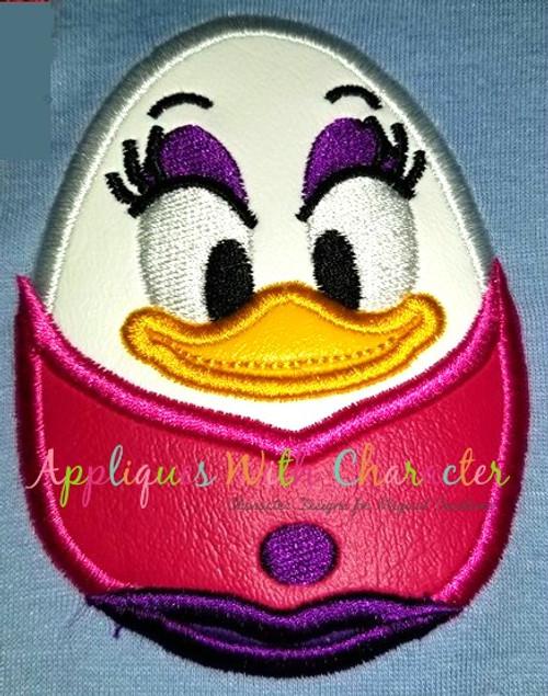 Daizy Duck Easter Egg Applique Design