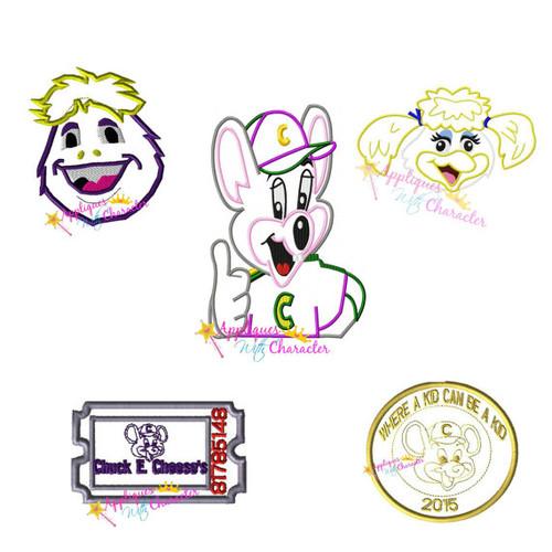Set of 5 Chuck E Cheeze's Hellen Henny Bird Applique Designs