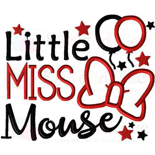 Little Miss Mouse Saying Applique Design