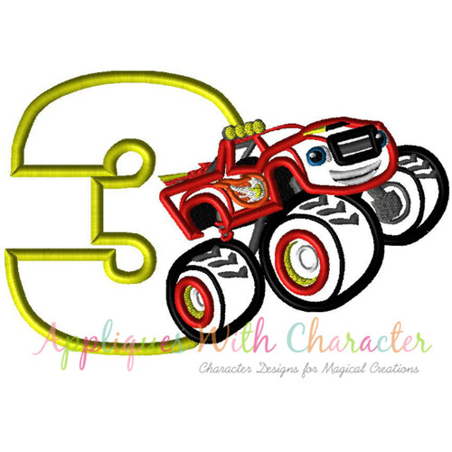 Blaze Monster Truck Three Applique Design