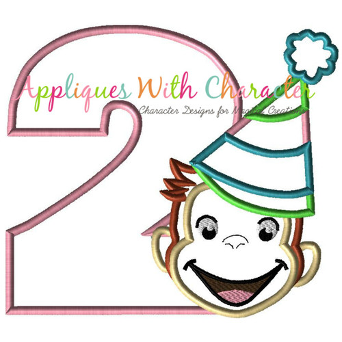 Curious Monkey Two Girl Applique Design