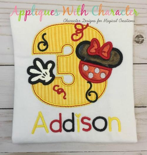 Miss Mouse Three Applique Design