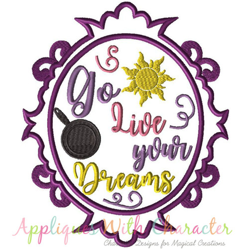 Rapunzela Exclusive Tangle Go Live Your Dream Mirror Applique Design