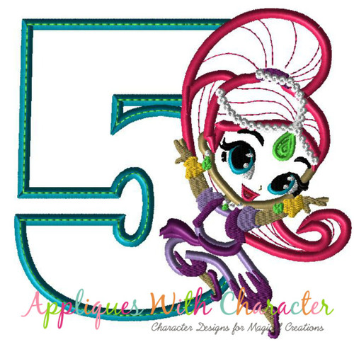 Shimmy Five Applique Design
