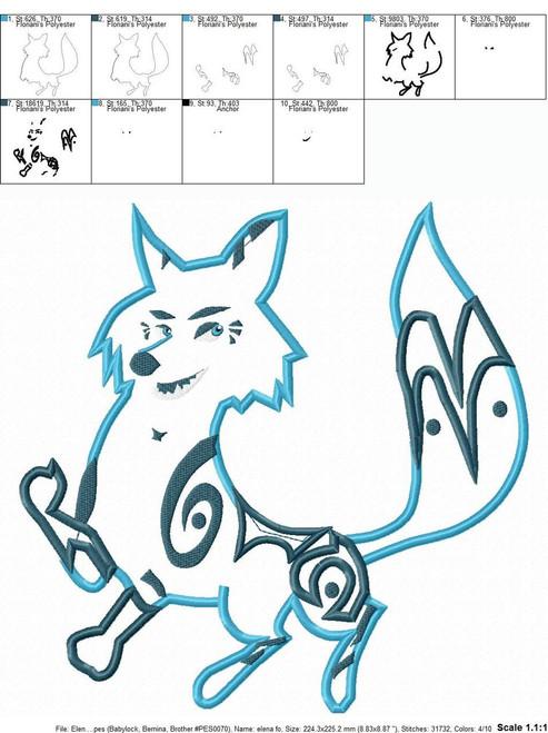 Eleena Zuzo Fox Applique Design