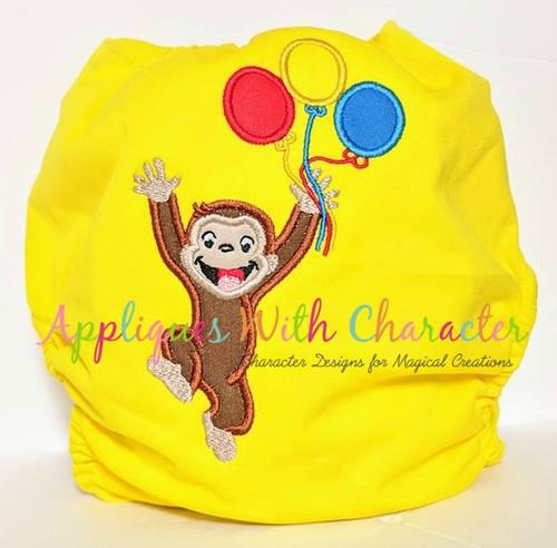 Curious Monkey Balloons Applique Design
