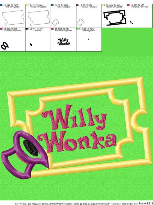Willie Wonky Golden Ticket Applique Design