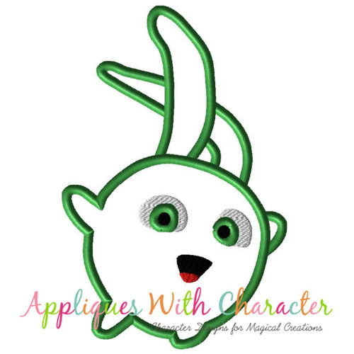Sun Bunny Green Applique Design