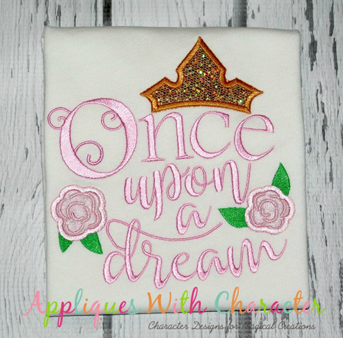 Sleeping Girl Once Upon A Dream Saying Applique Design