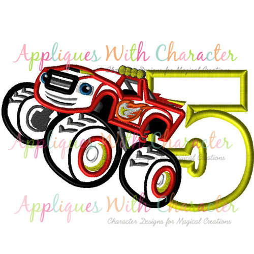 Blazing Monster Truck Five Applique Design